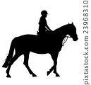 vector man on horseback isolated white background 23968310