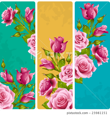 Vector set of floral vertical banners. 23981151