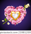 Vector pink Roses in the shape of heart 23981209