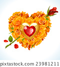 Vector yellow Roses in the shape of heart 23981211