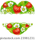 Vector strawberry frame in the shape of heart 23981231
