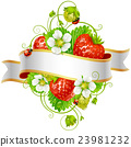 Vector ripe strawberry and ribbon 23981232