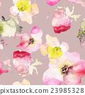 Strawberry flowers seamless pattern watercolor 23985328