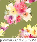 Roses and lilies seamless pattern. 23985354