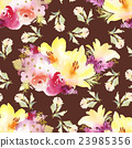 Roses and lilies seamless pattern. 23985356