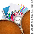 Education background with school supplies 23988532