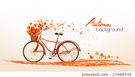 Autumn background with leaves and a bicycle 23988540