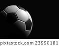 Soccer Ball on Black Background, 3D Rendering 23990181