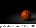 Basketball Ball on Black Background, 3D Rendering 23990185