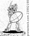 Illustration of a Gladiator Robot with a shield 23992190