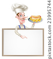 Cartoon Hotdog Chef Above Sign 23995744
