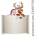 Christmas Santa Reindeer Scroll Background 23995750