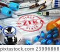 Zika virus  diagnosis. Stamp, stethoscope,  23996868