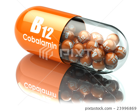 Vitamin B12 capsule. Pill with cobalamin.  23996869
