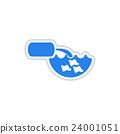 paper sticker on white background water pollution  24001051