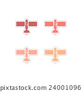 Set of paper stickers on white background 24001096