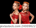 beautiful  little girls in red dresses 24009622