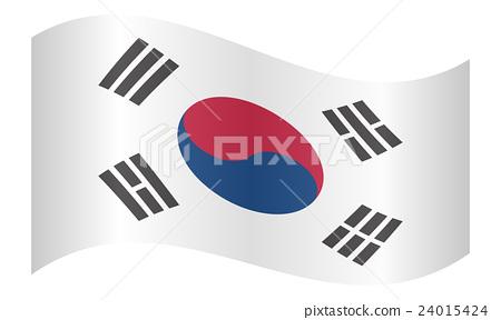 Flag of South Korea waving on white background 24015424