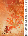 man on bicycle with falling autumn leaves 24015714