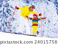 Mother and little girl learning to ski 24015756