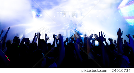 Stock Photo: silhouettes massive crowd party concert club music