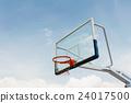Basketball hoop on empty outdoor court 24017500