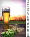 glass of beer with hop-garden background - 3D 24017623