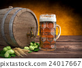 glass of oktoberfest beer with keg, barley and 24017667