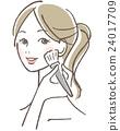 化妆女性的柚木 24017709
