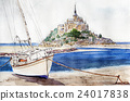Evening scenery of Mont Saint Michel Watercolor painting 24017838