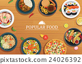popular food on a wooden background. 24026392
