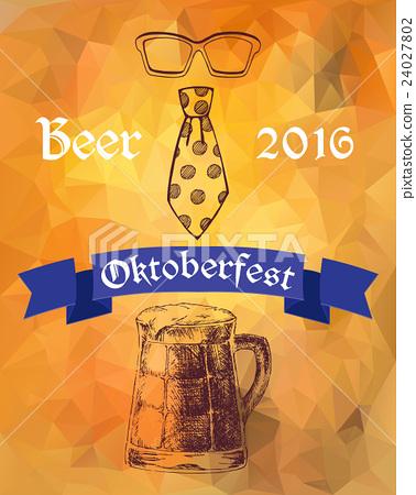 Oktoberfest vector illustration. Beer mug, tie and 24027802