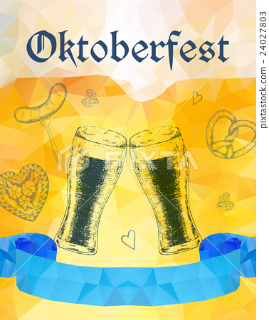 Oktoberfest vector illustration. Two beer glasses 24027803