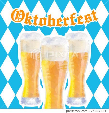 Oktoberfest vector illustration with three glasses 24027821