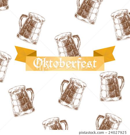 Vector illustration. Oktoberfest sign and brown 24027925