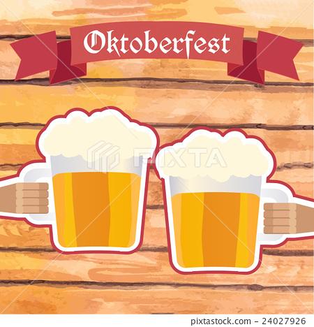 Oktoberfest vector illustration. Two men with beer 24027926