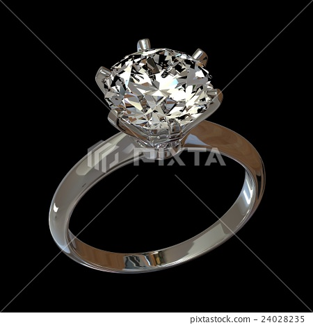 3D rendered image of diamond engagement ring 24028235