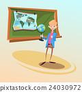 School Teacher Hold Globe Geography Lesson 24030972