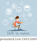 Schoolboy Sit School Desk Abstract Education 24031000