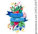 Beautiful Floral Greeting Card Bright illustration 24031047