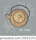 Teapot on grey background 24032141