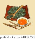 dry tea with tea tools and tea bowl 24032253