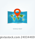 World map in a flat style. Earth, globe 24034469