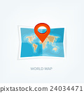 World map in a flat style. Earth, globe 24034471