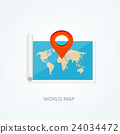 World map in a flat style. Earth, globe 24034472
