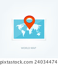 World map in a flat style. Earth, globe 24034474