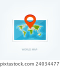 World map in a flat style. Earth, globe 24034477