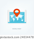 World map in a flat style. Earth, globe 24034478