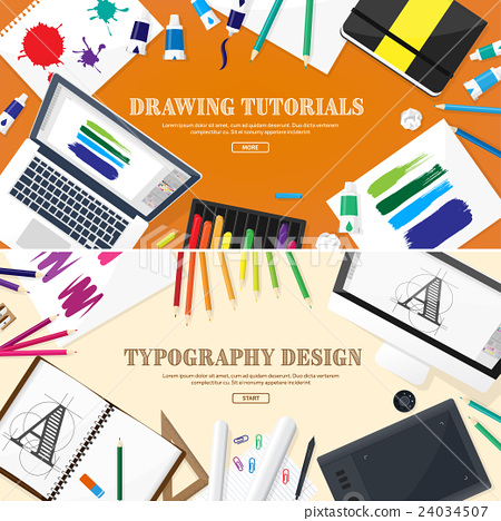 Graphic web design. Drawing and painting 24034507
