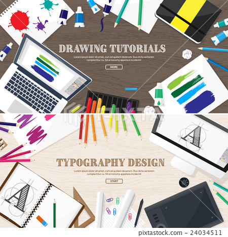 Graphic web design. Drawing and painting 24034511